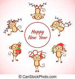 ensemble, singe, année, nouveau, dessin animé, heureux