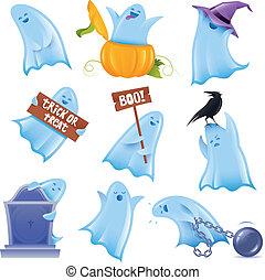 ensemble, situations, halloween, divers, 9, fantômes, heureux