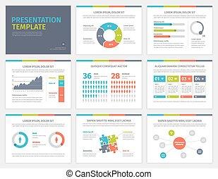 ensemble, slides., infographic, présentation, template., ...