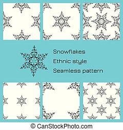ensemble, snowflakes., modèle, seamless, arrière-plan., ethnique, blanc, style.