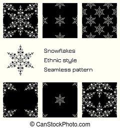 ensemble, snowflakes., modèle, seamless, arrière-plan., noir, ethnique, style.