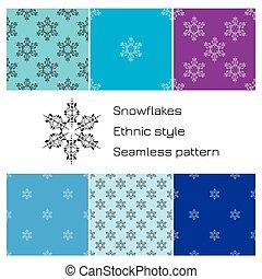 ensemble, snowflakes., modèle, seamless, ethnique, style.