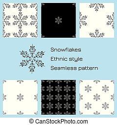 ensemble, snowflakes., modèle, seamless, noir, white., ethnique, style.