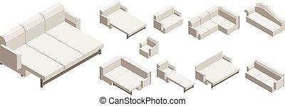 ensemble, sofa, isométrique, style, icône