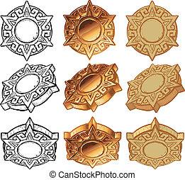 ensemble, soleil, aztèque, vecteur, médaillon, icône