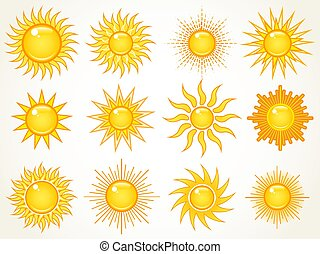ensemble soleil, ciel, icônes