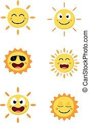ensemble soleil, dessin animé, collection, heureux