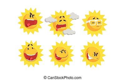 ensemble, soleil, différent, vecteur, dessin animé, exprimer, émotions