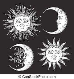ensemble, soleil, lune, boho, vetor, dessiné, main