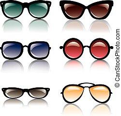 ensemble soleil, lunettes, icônes