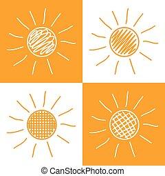ensemble soleil, main, dessiné