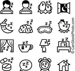 ensemble, sommeil, icône