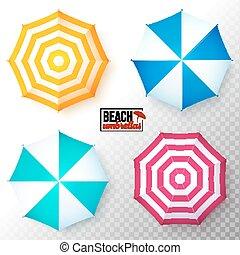 ensemble, sommet coloré, vecteur, plage, parapluies, vue