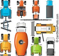 ensemble, sommet, pictograms, machinerie, agricole, vue