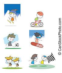 ensemble, sport hiver, gosse