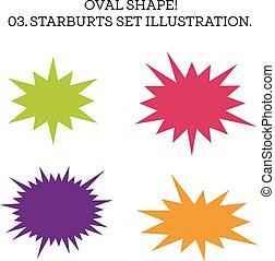 ensemble, starburst, forme., illustration, vecteur, parole, ovale, bulle