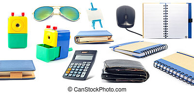 ensemble, stationnaire, appareils, bureau