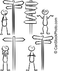 ensemble, stickman, décision, -, vecteur, manière