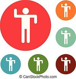 ensemble, stickman, figure, icônes, vecteur, crosse, cercle