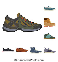 ensemble, stock., illustration, bitmap, chaussures, pied, icon., chaussure, icône