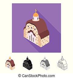 ensemble, stock., orthodoxe, signe., vecteur, conception, église, chapelle, icône