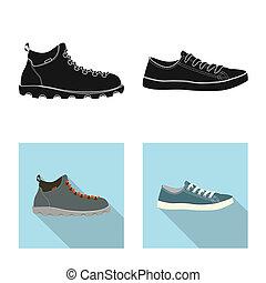 ensemble, stock., signe., bitmap, conception, chaussures, pied, chaussure, icône