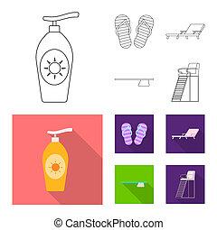 ensemble, stock., signe., illustration, bitmap, activité, piscine, icône