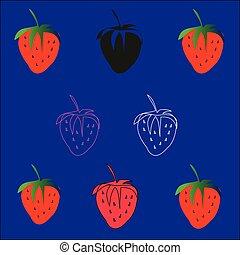 ensemble, strawberries., vector.
