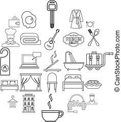ensemble, style, auberge, contour, icônes