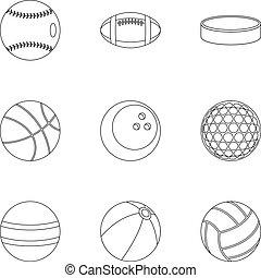 ensemble, style, balle, contour, icônes
