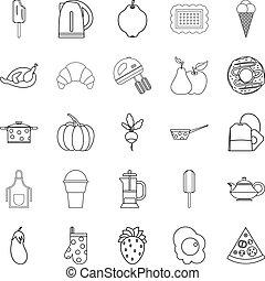 ensemble, style, cambuse, contour, icônes