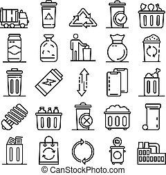 ensemble, style, contour, déchets, icônes