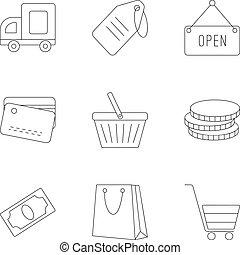 ensemble, style, contour, supermarché, icônes