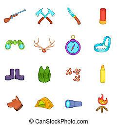 ensemble, style, dessin animé, chasse, icônes