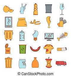 ensemble, style, dessin animé, déchets, icône