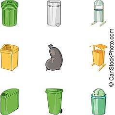 ensemble, style, dessin animé, déchets, icônes
