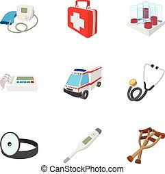 ensemble, style, dessin animé, diagnostic, icônes