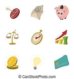 ensemble, style, dessin animé, icones affaires