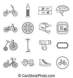 ensemble, style, faire vélo, contour, icônes
