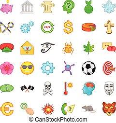 ensemble, style, football, dessin animé, icônes