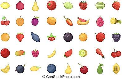 ensemble, style, fruits, dessin animé, icône