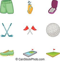 ensemble, style, golf, dessin animé, icônes
