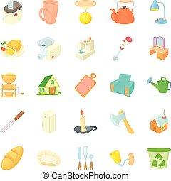 ensemble, style, homeliness, dessin animé, icônes