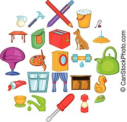 ensemble, style, housewifery, dessin animé, icônes