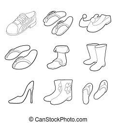 ensemble, style, icône, contour, chaussures