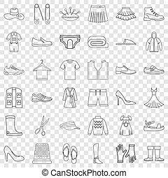 ensemble, style, icônes, contour, chaussure