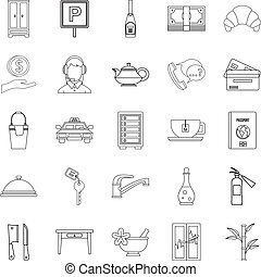 ensemble, style, icônes, contour, public
