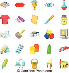ensemble, style, icônes, dessin animé, artisan