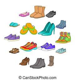 ensemble, style, icônes, dessin animé, chaussure