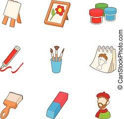 ensemble, style, icônes, dessin animé, dessin
